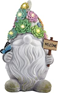 Garden Gnome Statues Decor Lights, Solar Powered Outdoor Lights Art Gifts with 10 Warm White LEDs