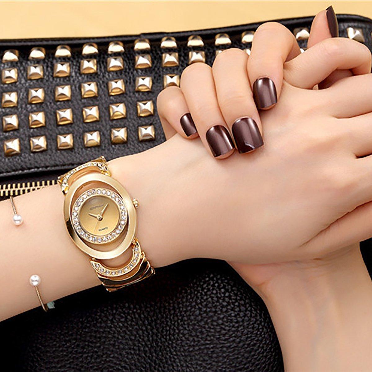Longqi Luxury Women Rhinestone Quartz Watch Hollow Out Design Female Wristwatches (Gold)
