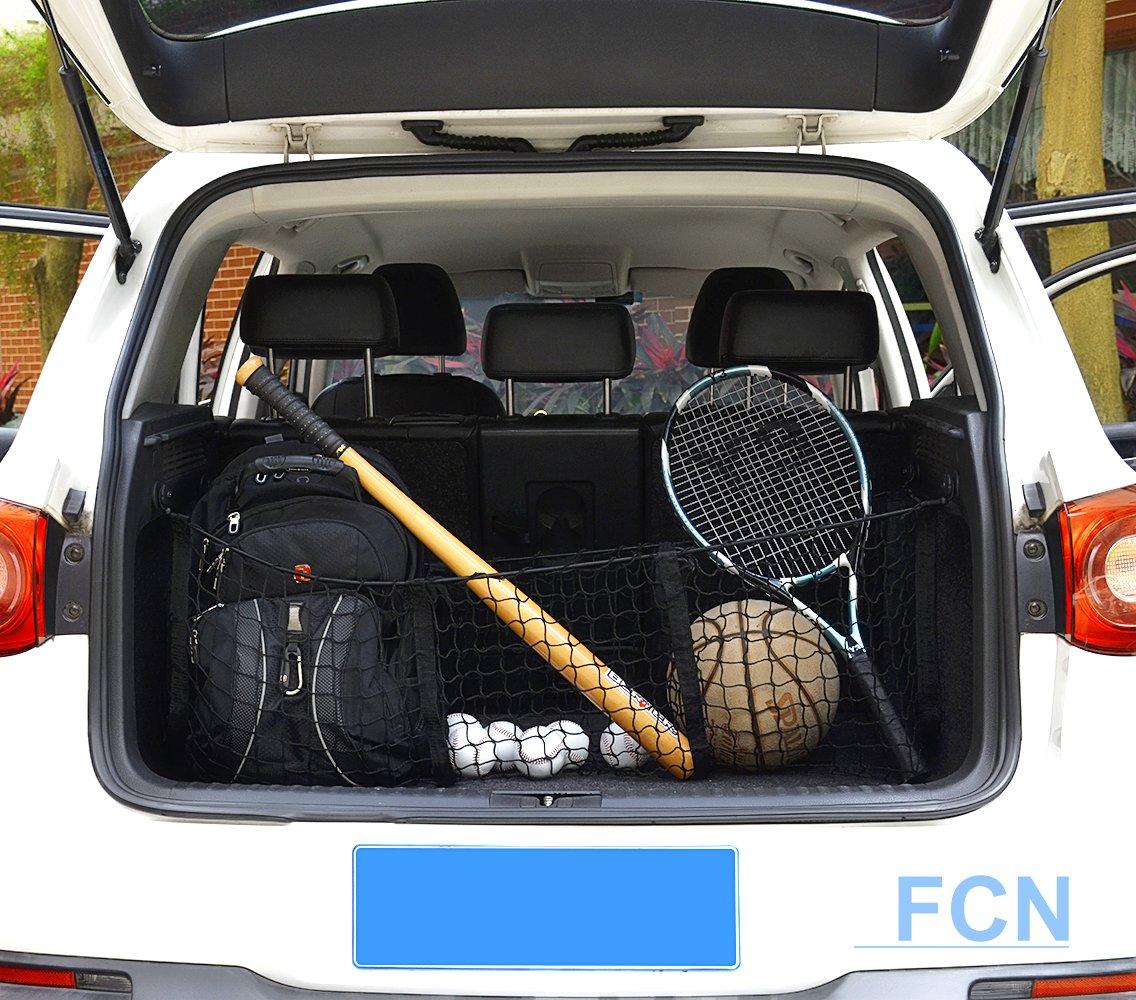 Mesh for Car Pickup Truck Hooks Organizer Storage SUV Bungee Adjustable Elastic New Truck Net Universal Heavy Duty Stretchable Cargo Net with 3 Pockets -Black Fortune 4332990284 Nylon