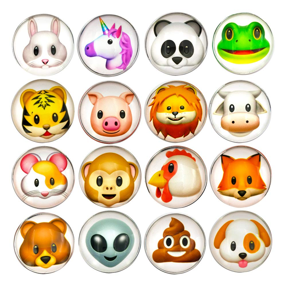 16 Pcs Refrigerator Magnets 3D Emoji Fridge WhiteBoard Cute Dry Erase Board Magnetic Lockers for School Home Office Kitchen Decorative Fun Cartoon Smile Face Gift (Animal)