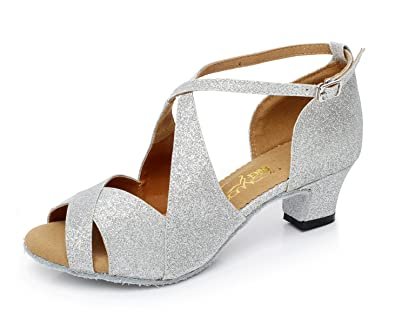 JSHOE Damen Tanzschuhe Latin Salsa/Tango/Tee/Samba/Modern/Jazz Schuhe Sandalen High HeelsSilver-heeled7.5cm-UK5...