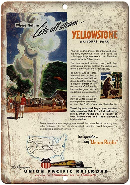 Yellowstone National Park Flyer Póster De Pared Metal Retro ...