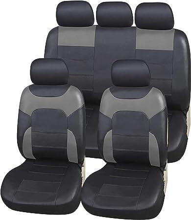 Upgrade4cars Auto Sitzbezüge Schwarz Leder Optik Universal Auto Sitzschoner Set Für Die Vordersitze Und Rückbank Kunstleder Auto Schonbezüge Auto