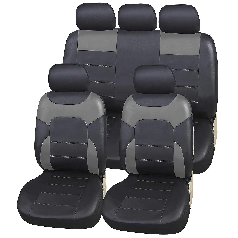 upgrade4cars Coprisedili Eco-Pelle per Auto Universali Nero & Beige | Set Copri-Sedile Universale Similpelle per Anteriore e Posteriore | Accessori Automobile Interno
