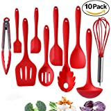 Tom's Kitchen Silicone Kitchen Utensils Set, 10 pcs Cooking & Baking Tool Sets Non-toxic Hygienic Safety Heat Resistant with Tongs, Whisk, Brush, Ladle, Spatula, Slotted Spoon, Spoonula