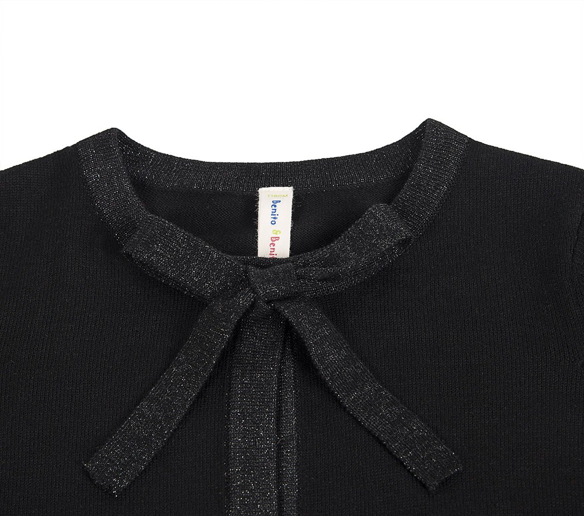 Benito & Benita Girl's Sweater Crew Neck Cardigan Long Sleeve Cotton Sweater with Bows Black/Red for 3-12Y by Benito & Benita (Image #5)