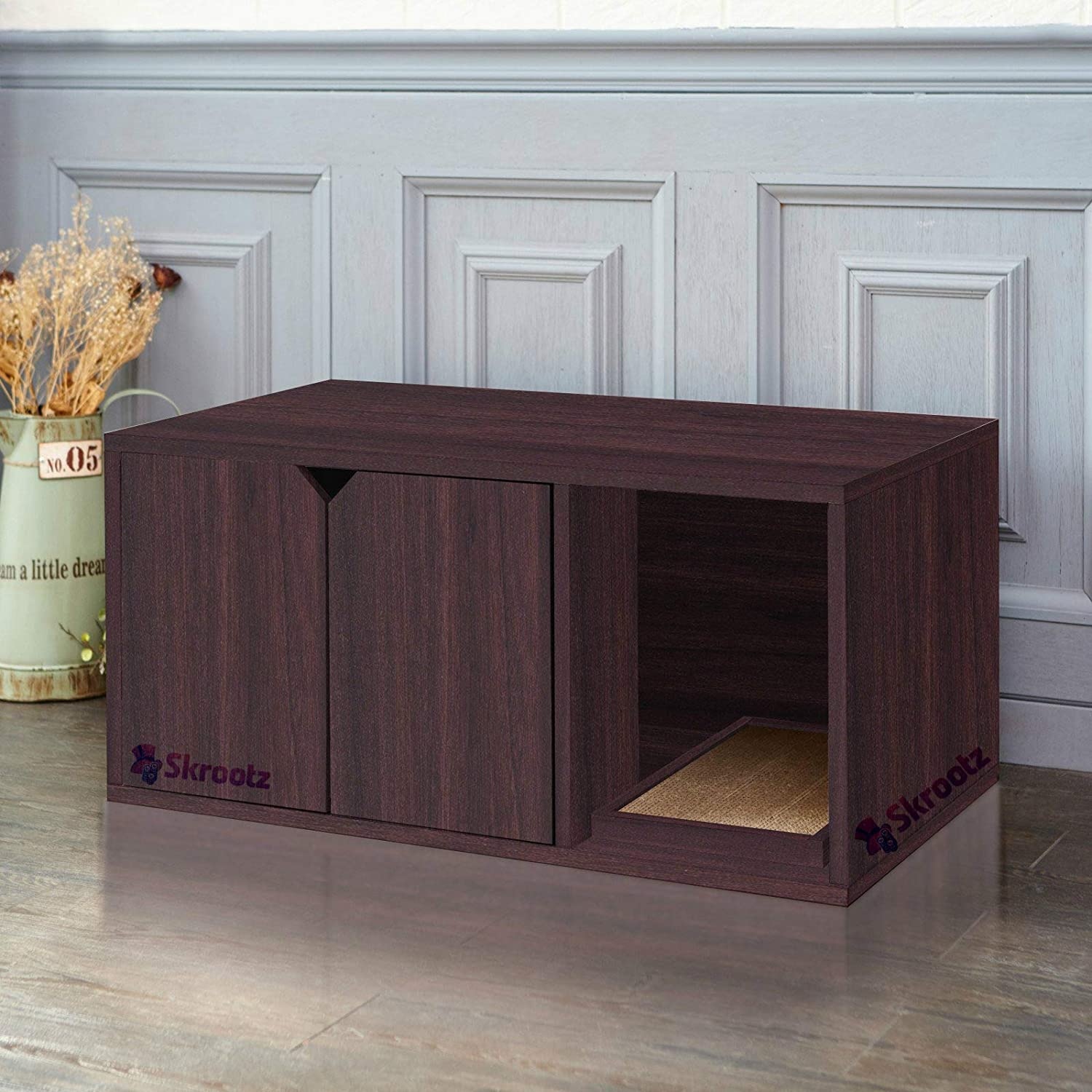 Enclosed Cat Litter Box Furniture Espresso