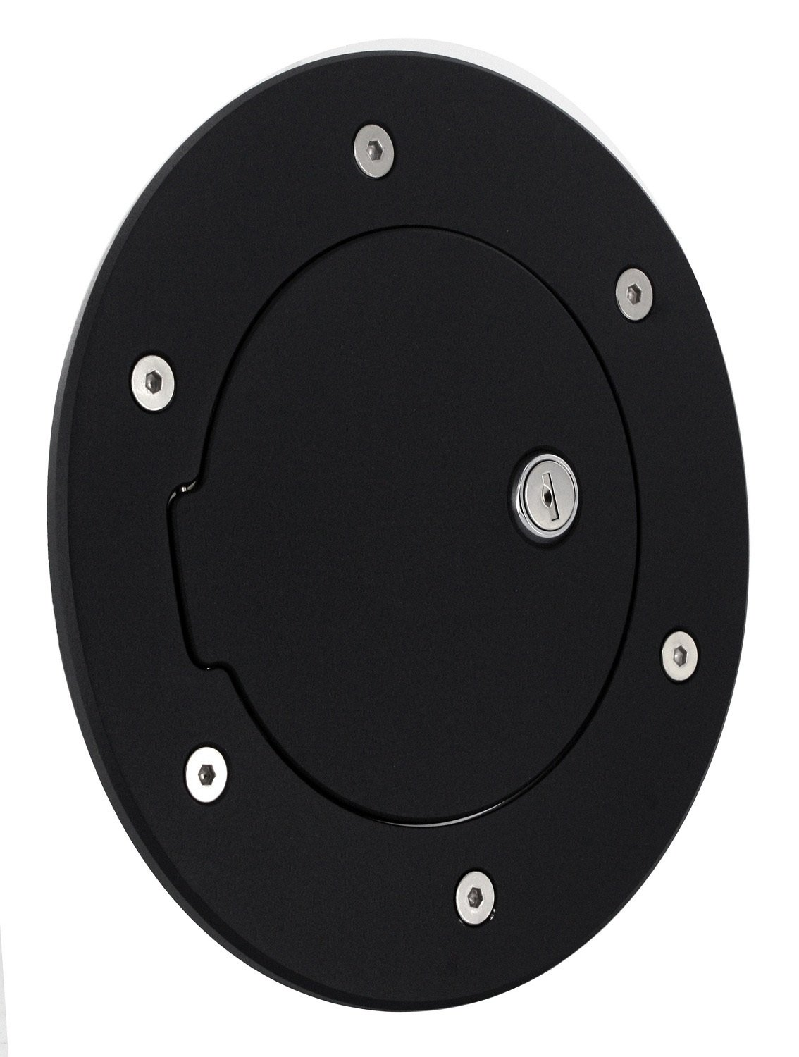All Sales 6097KL Black Billet Aluminum Ring and Locking Fuel Door