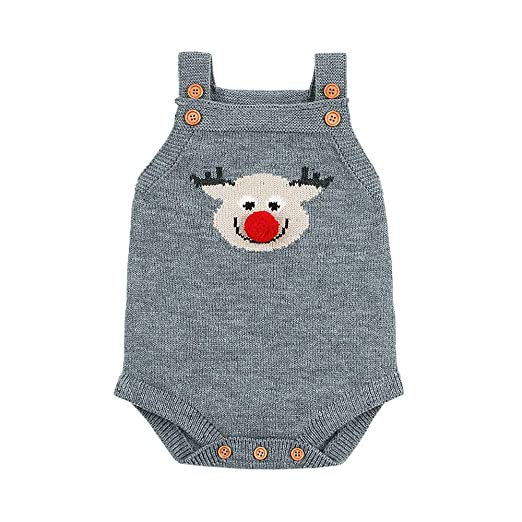85e7e723bd2 Newborn Infant Baby Girls Boys 2018 Newest Christmas Romper Cute Cartoon Sleeveless  Knitted Jumpsuit Clothes for
