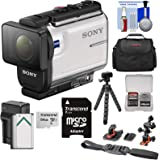 Sony Action Cam HDR-AS300 Wi-Fi HD Video Camera Camcorder with Flat Surface & Helmet Mounts + 64GB Card + Battery & Charger + Case + Tripod + Kit