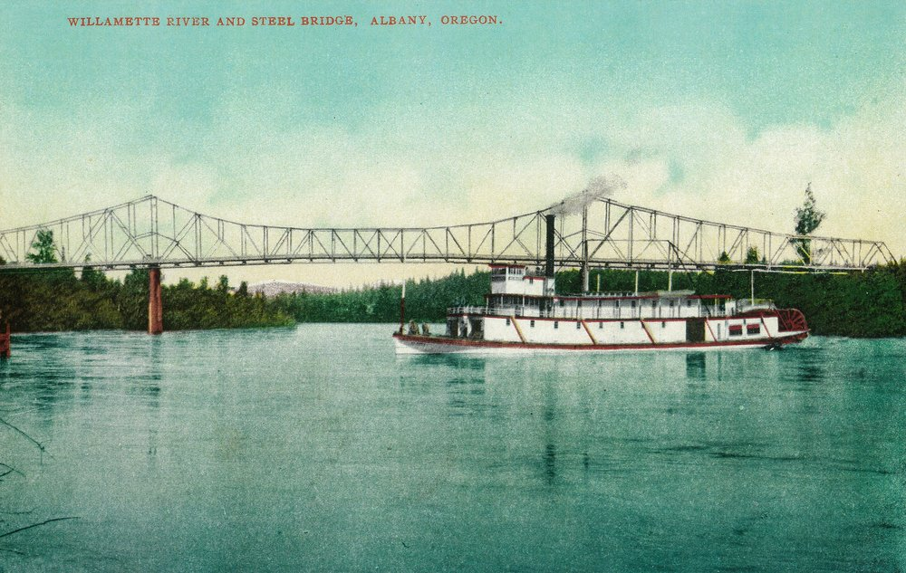 Willamette River and Steel Bridge in Albany (12x18 Art Print, Wall Decor Travel Poster)