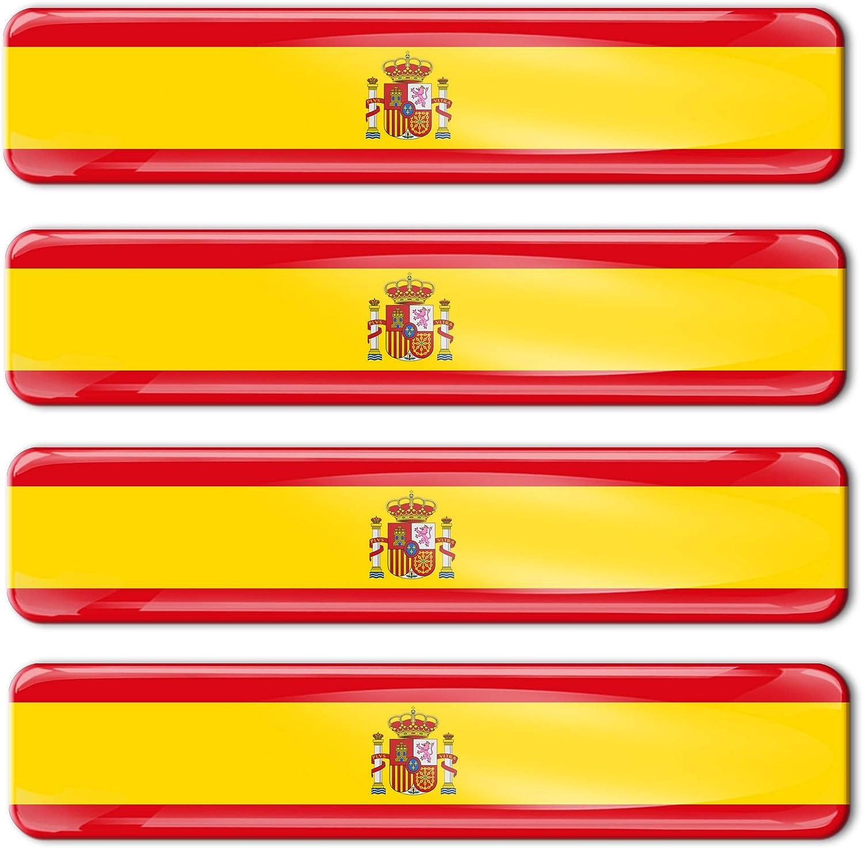Biomar Labs® 4 pcs 3D Gel Pegatinas Bandera Nacional España Spain Silicona Adhesivo Autos Coches Motos Ciclomotores Bicicletas Ordenador Portátil F 21: Amazon.es: Coche y moto