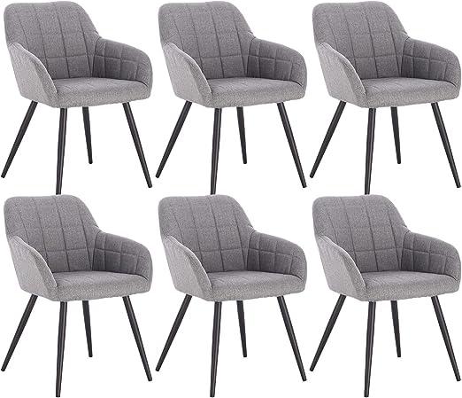 WOLTU 6 x Esszimmerstühle 6er Set Esszimmerstuhl Küchenstuhl Polsterstuhl Design Stuhl mit Armlehne, mit Sitzfläche aus Leinen, Gestell aus Metall,