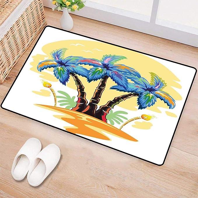 Review Palm Tree,Bath Mat,Colorful Cartoon