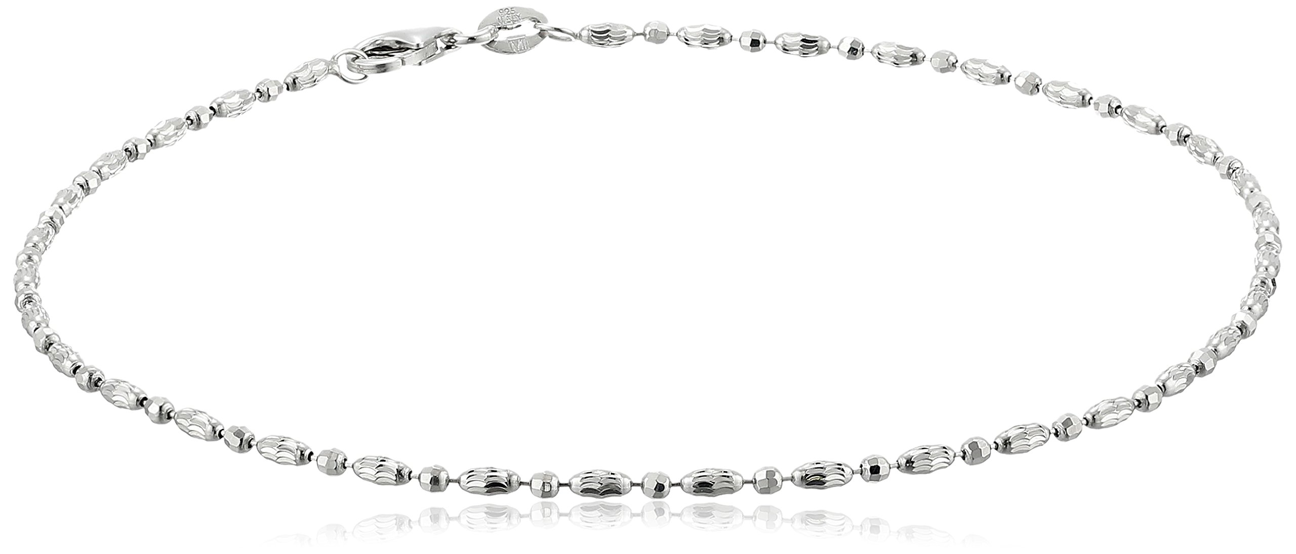 Italian Sterling Silver Rhodium Plated Diamond Cut Oval and Round Beads Mezzaluna Chain Ankle Bracelet, 9''