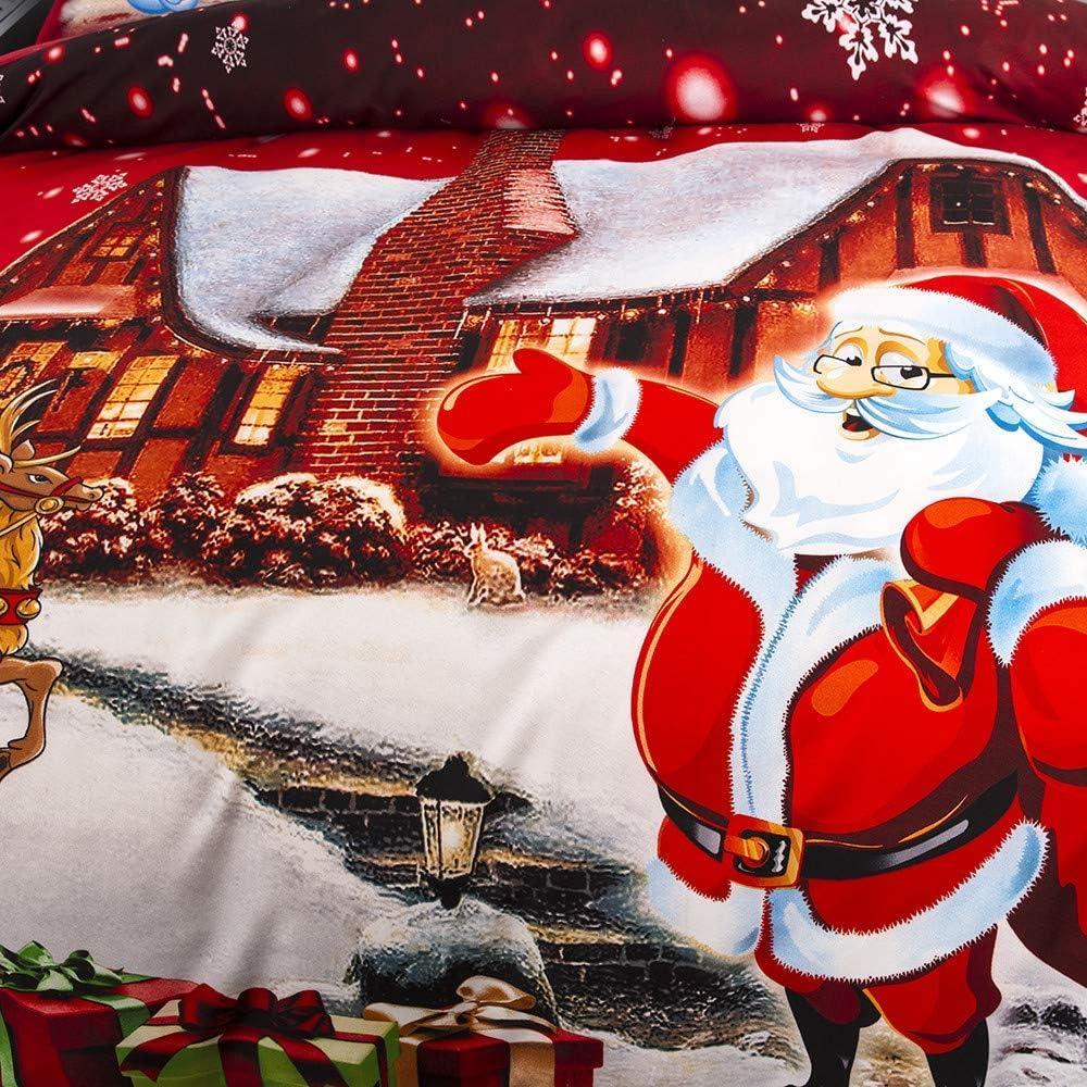 Bettbezug Kinder Eltern Set f/ür Erwachsene Bettbezug Quilt Kissenbezug Linsaner Weihnachtsbettw/äsche 228cmx230cm+2x48cmx74cm