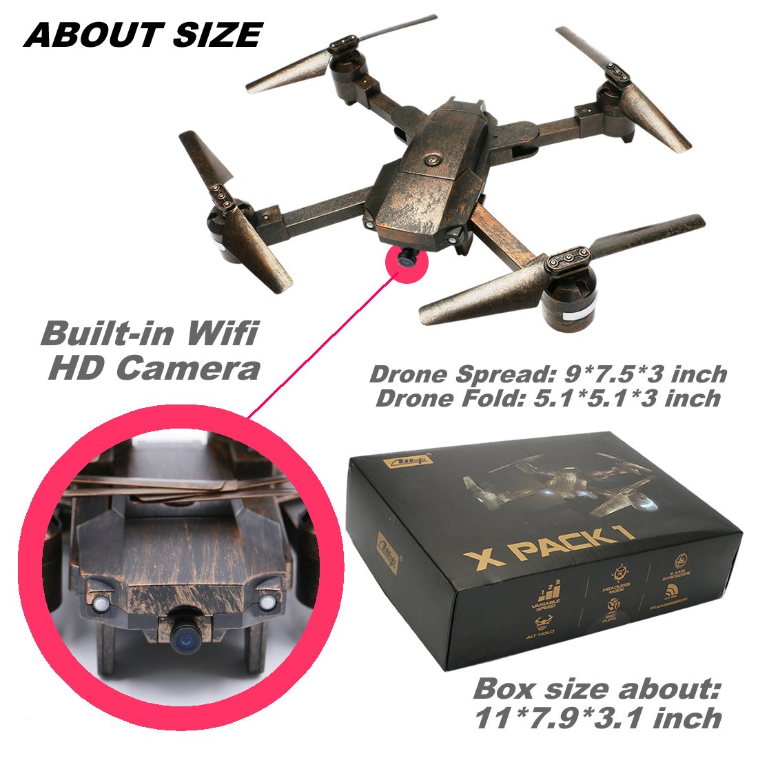 ATTOP XT-1 Foldable Mini RC Drones with HD Camera Live Video FPV Quadcopter Selfie Drone 2.4G 6Axis Gyro with One Key Take Off Altitude Hold Gray