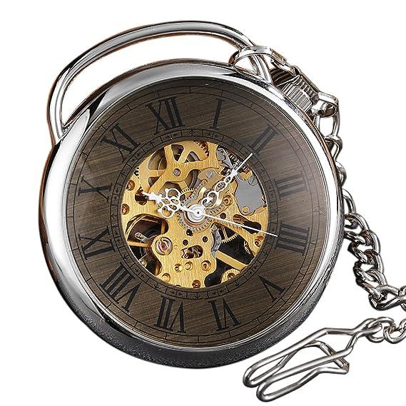 GORBEN Reloj de bolsillo mecánico vintage plateado con números romanos grandes dial de madera esqueleto con