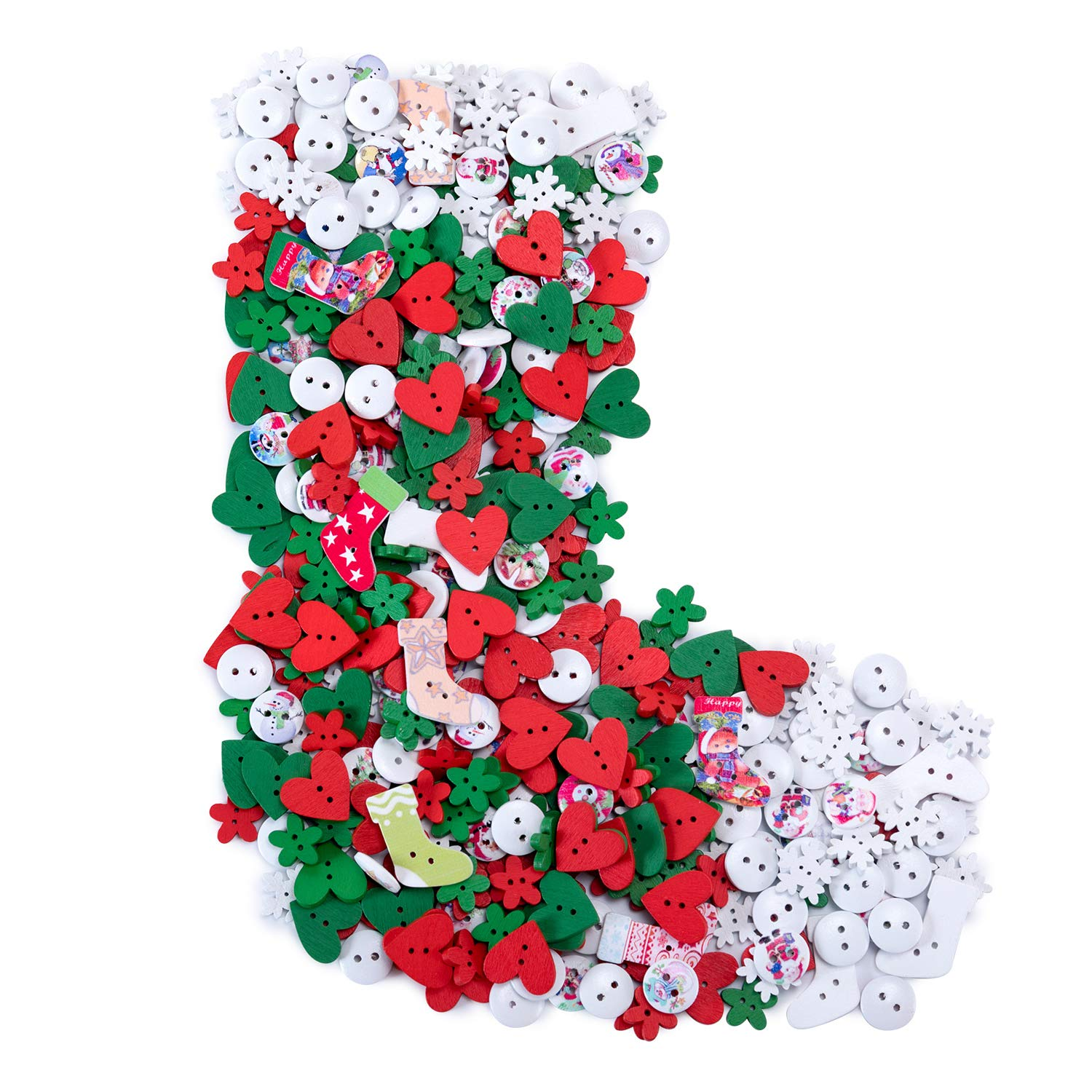 Favourde 120g(450 Pieces) Wooden Buttons Christmas Style Sewing Button DIY Craft Decoration, Mixed Color 2 Holes
