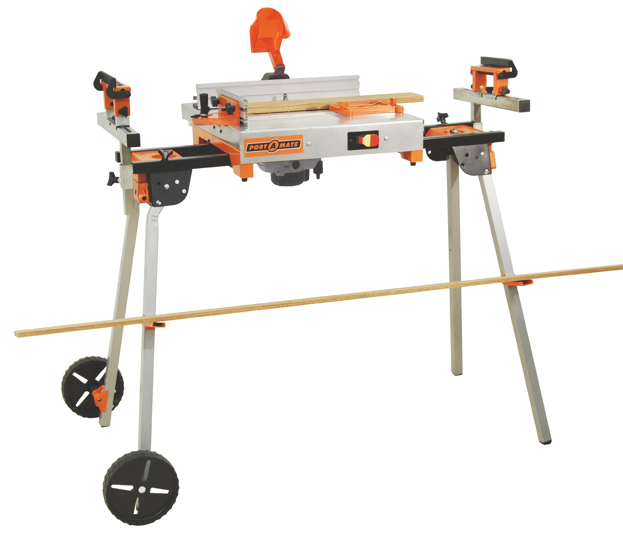 "Folding Miter Saw Stand with Wheels and 110V Outlet Portamate PM-5000 - Heavy Duty 35.5"" Work Height Miter Saw Stand with 8"" Wheels, Powered Outlet and 500 lb. Capacity"