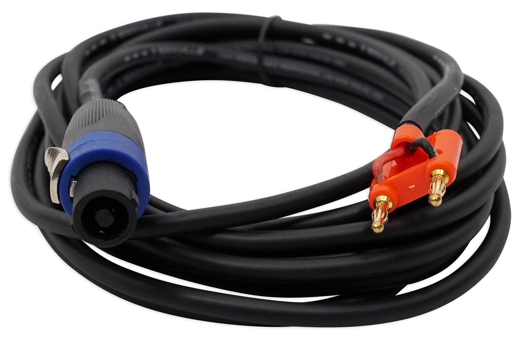 Rockville 20 Foot Speakon to Banana Speaker Cable, 16 Gauge, 100% Copper! (RSB16)