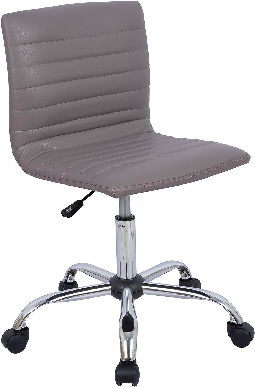 AmazonBasics Modern Adjustable Low Back Armless Ribbed Task Chair, Grey