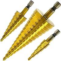 Hiveseen 3 Piezas Broca Escalonada, Hss Titanio, 4-12/20/32mm