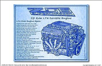 Amazon c7 z06 lt4 corvette engine blueprint art print c7 z06 lt4 corvette engine blueprint art print malvernweather Images