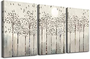 trees and birds Abstract Paintings Canvas Prints Wall Art for Bedroom Bathroom Wall Decor office Artworks Pictures Wall Decorations for Living Room,3 Piece Sunrise and sunset Modern Home Decoration