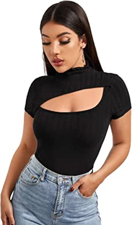SOLY HUX Women's Casual Mock Neck Short Sleeve Tee Cut Out T Shirt Top