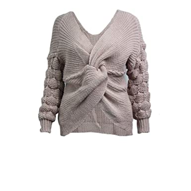 7f1ffa2cf MALAIKA Women Bobble Knit Sleeve Wrap Front Ladies High Street ...