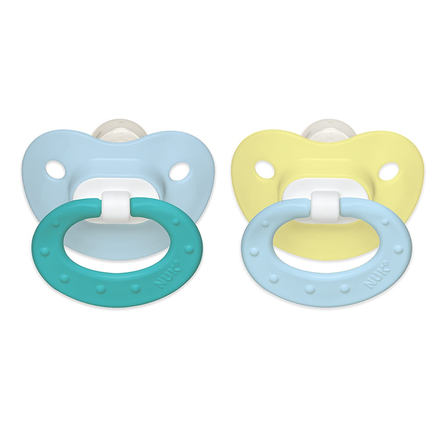 NUK Classic Silicone BPA Free Fashion Pacifier, Size 1, 2-Pack, Colors May Vary 62642