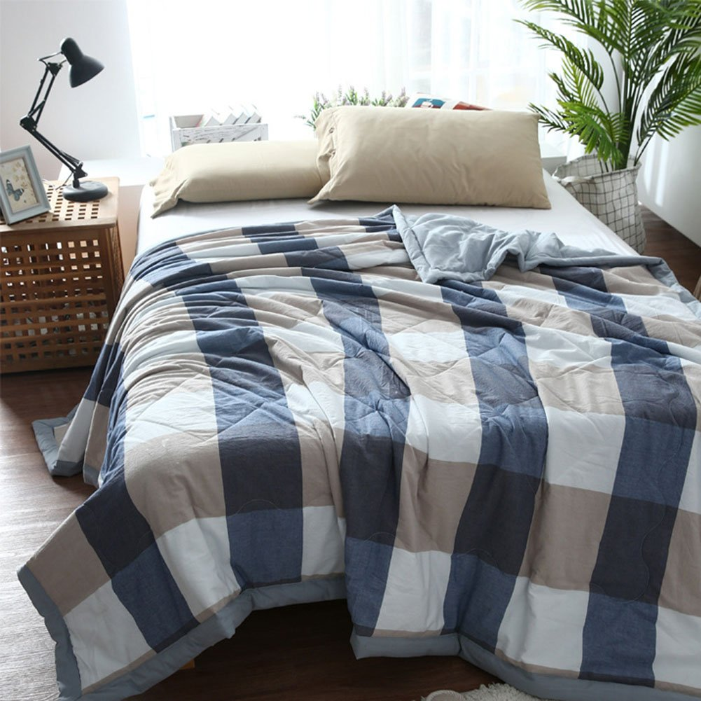 Uther Thin Comforter for Summer Simple Check Design Lightweight Cotton Summer Quilt Bed Quilt Blanket ( Blue gird, Full/ Queen)