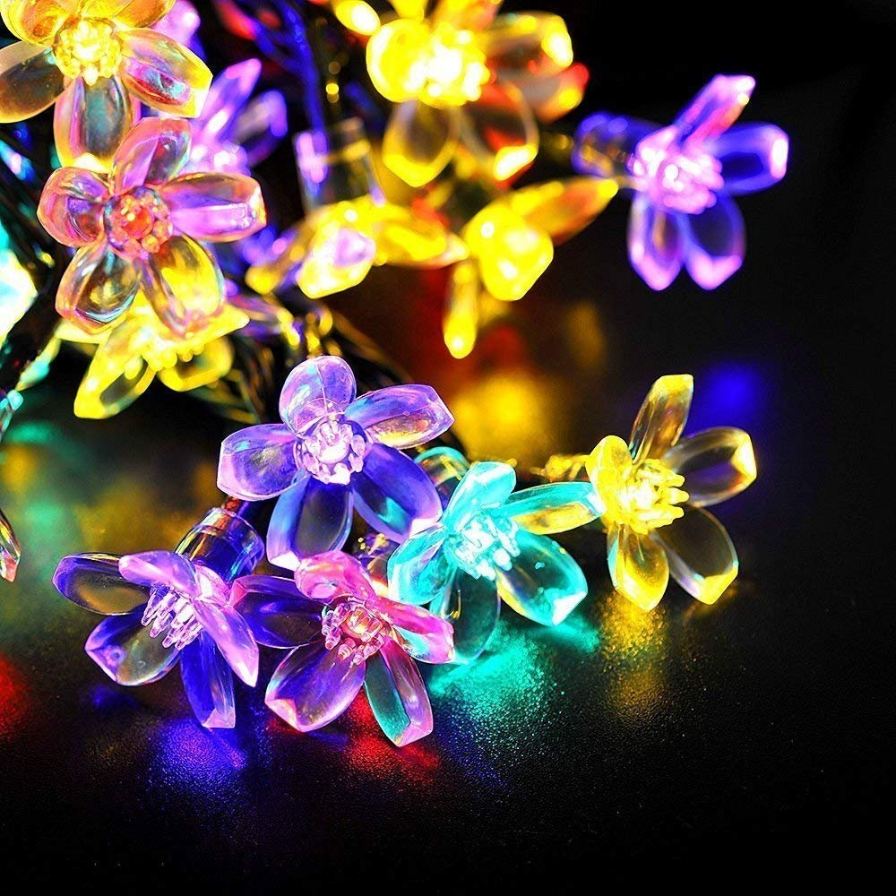 ECOWHO Solar String Lights 50 LED Waterproof Fairy Lights Starry Blossom Flower Lights for Indoor and Outdoor, Patio, Garden, Party, Christmas (Multicolor)
