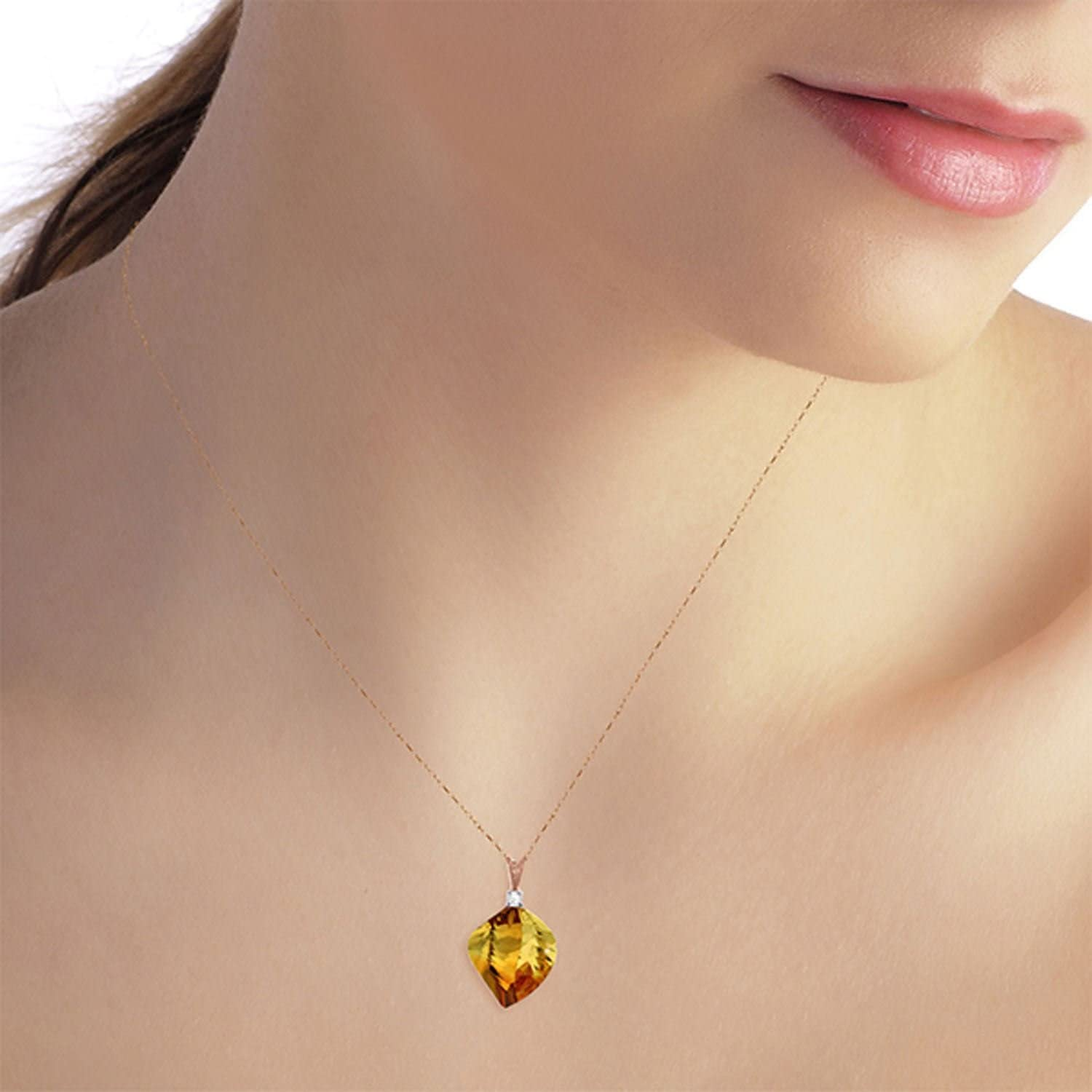 ALARRI 11.8 Carat 14K Solid Rose Gold Spiral Citrine Diamond Necklace with 18 Inch Chain Length