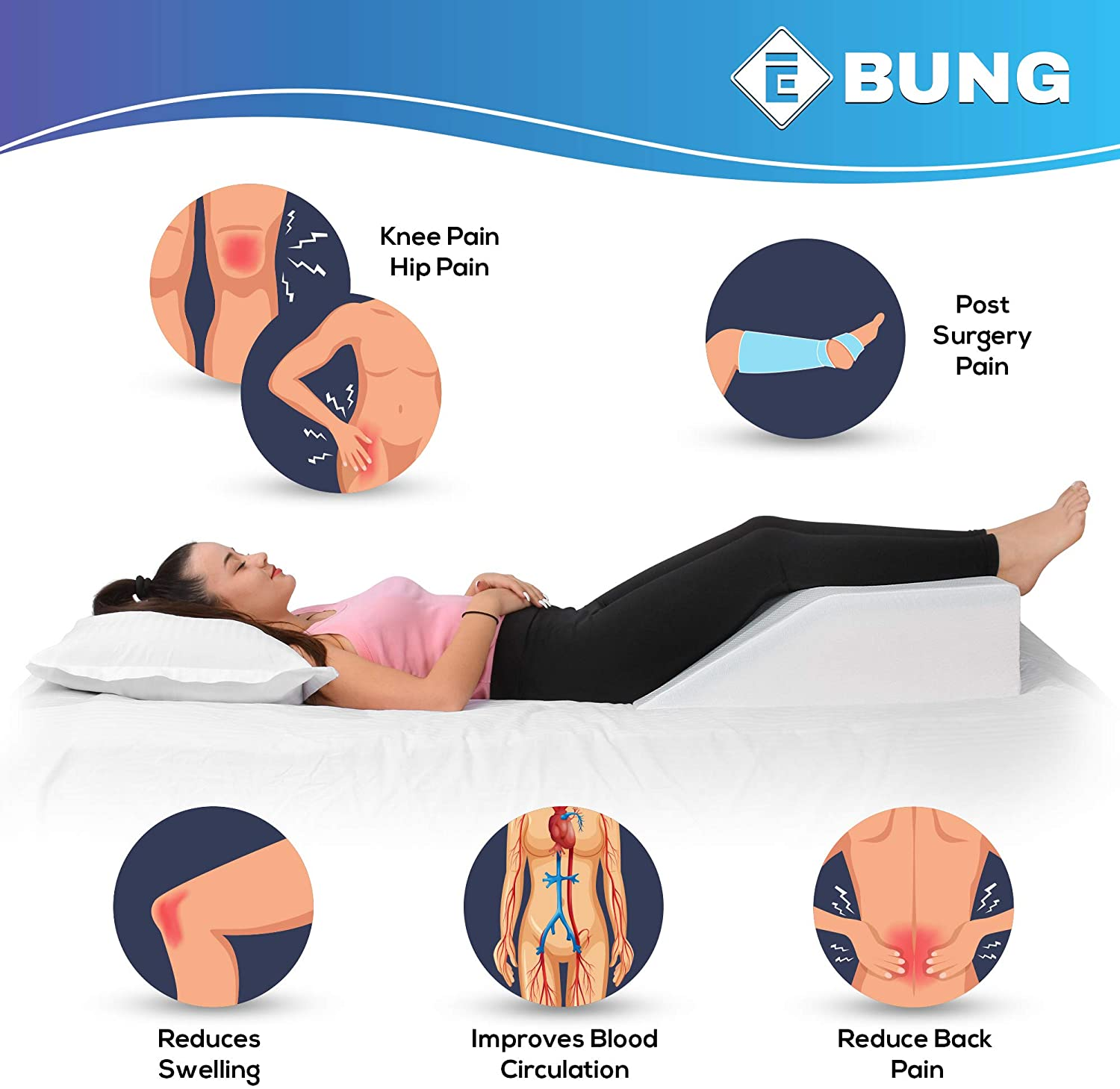 Leg Elevation Pillow with Cooling Gel - Memory Foam Leg Rest - Elevating Foam Wedge- Relieves Leg Pain, Hip and Knee Pain, Improves Blood Circulation, Reduces Swelling - Breathable, Washable Cover: Home & Kitchen