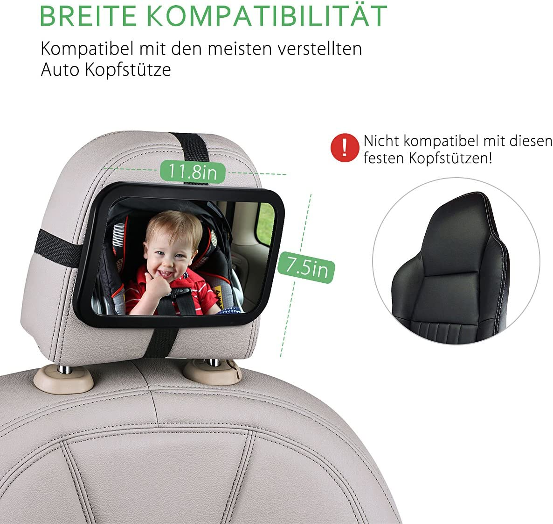 specchietto retrovisore auto per sedile posteriore Topelek 30 /× 19 cm girevole con materiale infrangibile per controllo bambini formato grande Specchietto retrovisore controllo bambini