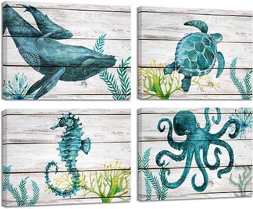 Antique Reproduction Primitive  Seahorse Print on Canvas Board