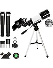 ESAKO Telescope for Kids & Beginners 70mm Portable Astronomical Telescopes with Phone Mount Moon Filter & 3X Barlow Lens