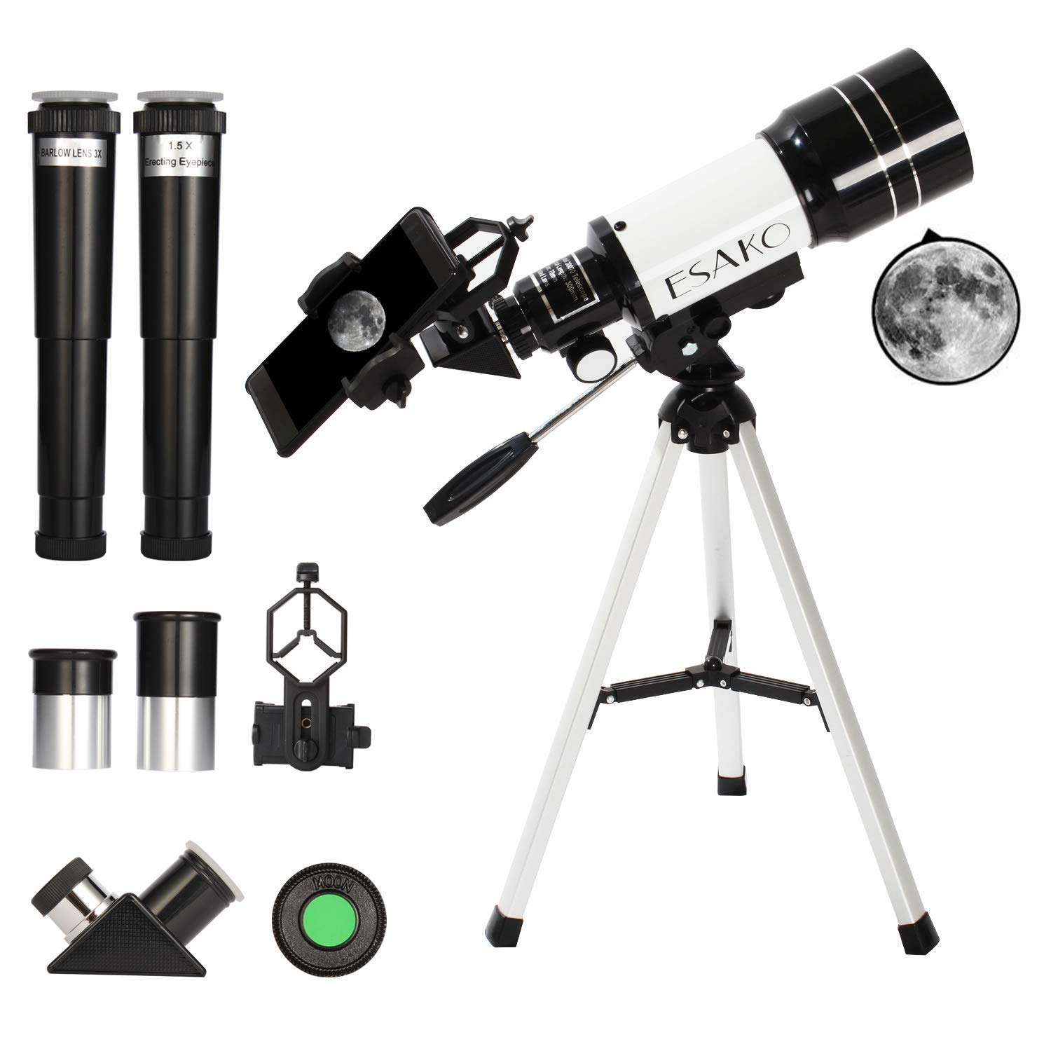 ESAKO Telescope for Kids & Beginners 70mm Portable Astronomical Telescopes with Phone Mount Moon Filter & 3X Barlow Lens by ESAKO