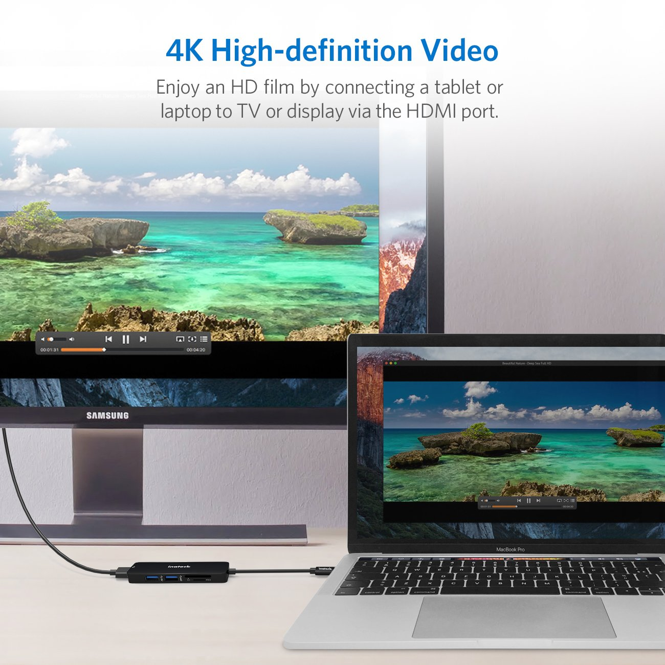 2 USB 3.0 Ports f/ür USB-C Ger/äte Inateck USB-C Hub Aluminium USB 3.1 Gen1 Typ C Hub Adapter 4K HDMI Video Ausgang Schwarz SD//Micro SD Kartenleser