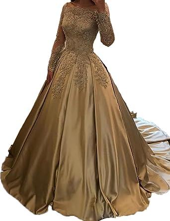 Little Star Women\'s Satin Prom Dresses Long Lace Appliqued Evening ...