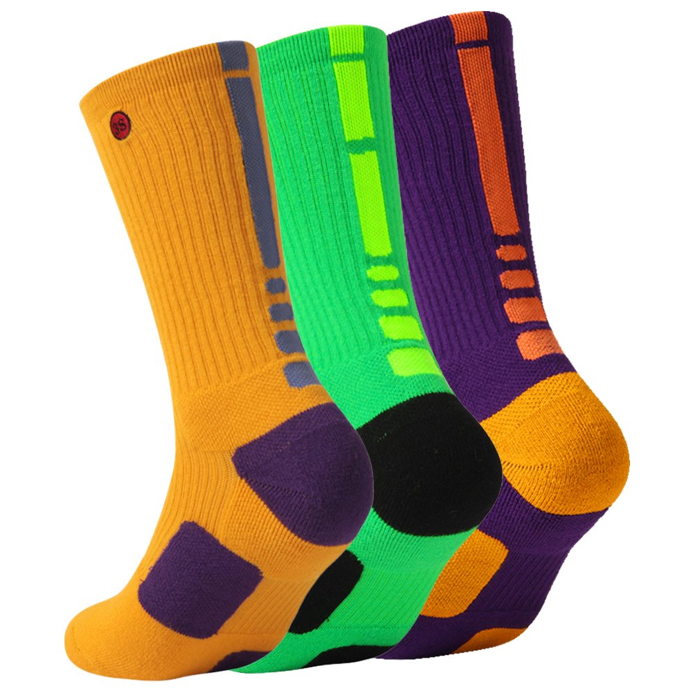3street SOCKSHOSIERY メンズ B0786J9RZ7 Large|3 Pairs Yellow Green Purple 3 Pairs Yellow Green Purple Large