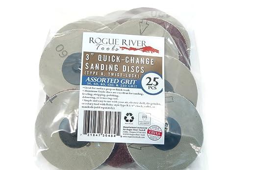 Rogue River Tools 3 Quick-Change Sanding Discs Type - R 60 Grit 25pc