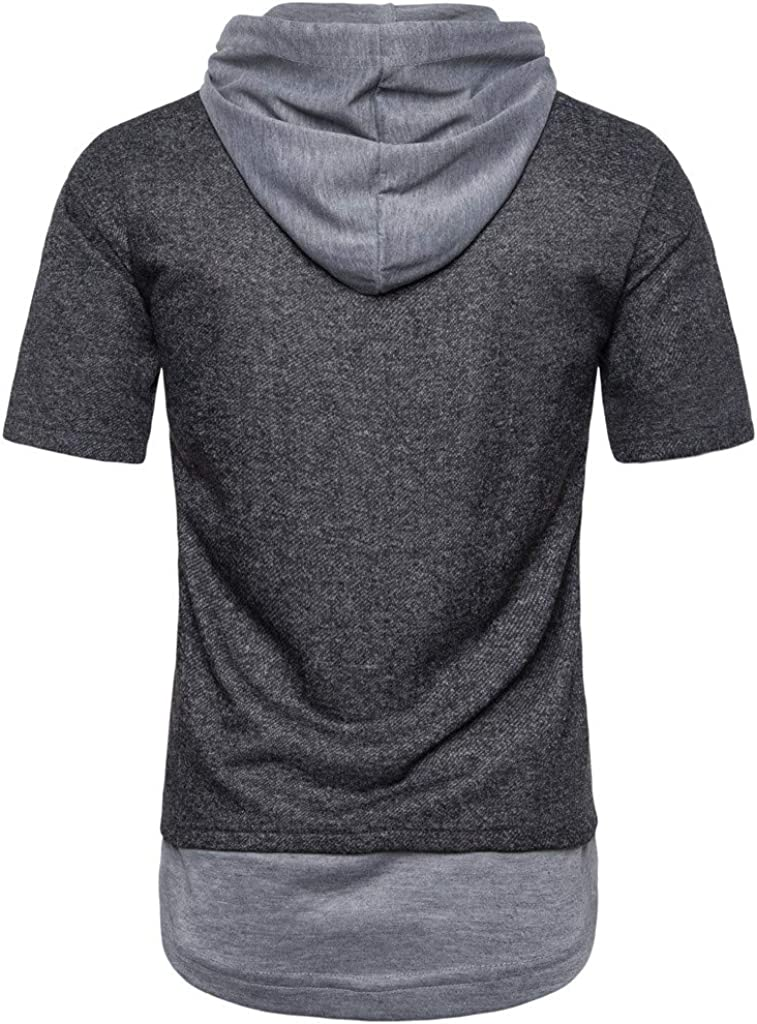 Mens Pure Color Hooded Striped Splice Casual Sport Lapel Short Sleeve Shirt