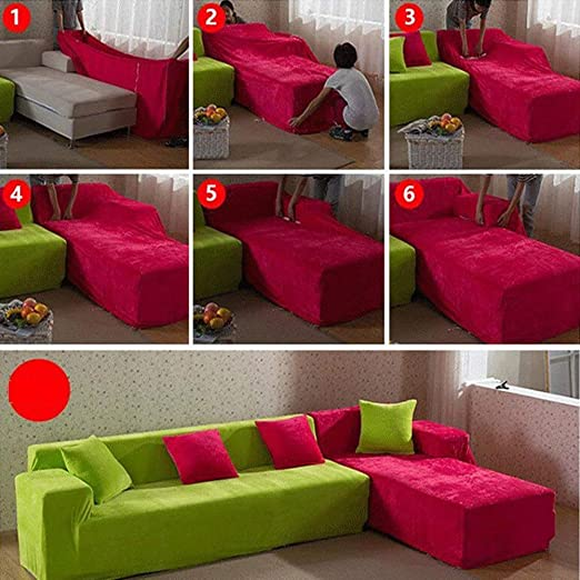 Thick Sofa Covers 1234 Seater Pure Color Sofa Protector Velvet Easy Fit Elastic Fabric Stretch Couch Slipcover size 2 Seater:145 185cm (Camel)