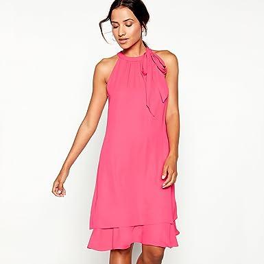 568cd3a7d54 Debut Womens Bright Pink Tie Neck  Elsa  Chiffon Knee Length Swing ...
