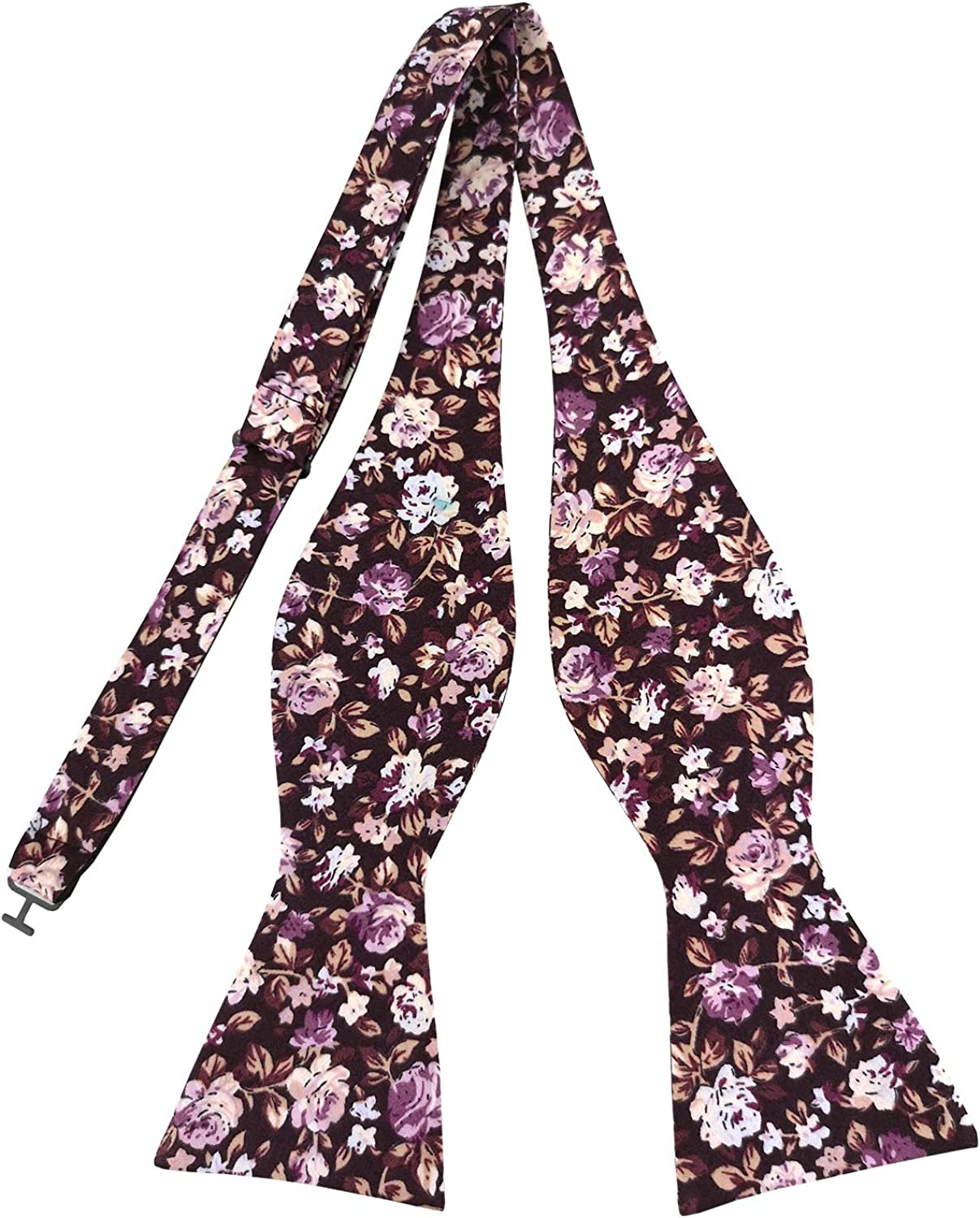 Various Styles PenSee Mens Self Bow Ties Floral Pattern Printed Cotton Bowtie