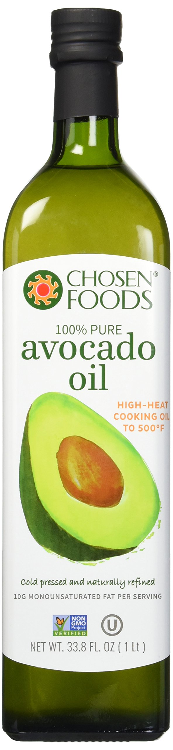 Chosen Foods 100% Avocado Cooking Oil, 1L Bottle (33.8fl)