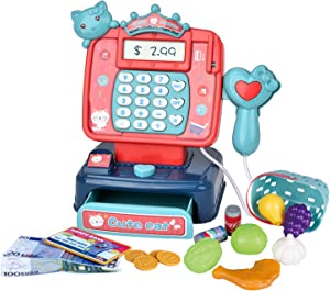 Sotodik Mini Cash Register with Working Scanner,Calculator,Credit Card Reader,Play Food and Money Preschool Learning for Girl Boys Kids(21PCS)